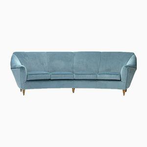 Italienisches 4-Sitzer Sofa in azurblauem Samt, 1950er