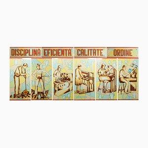Paneles de vidrio con pintura de trabajadores socialistas, años 50