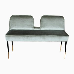 Long Mid-Century Italian Bench in Velvet