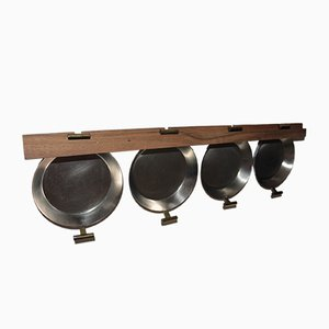 Set of 4 Pans on a Wooden Rack by Carl Auböck for Atelier Auböck, 1950s