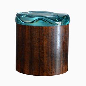 Runder Vintage Holz Behälter mit Glas Deckel von Pietro Chiesa für Fontana Arte
