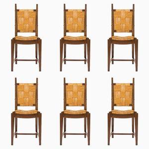 Nussholz & Stroh Stühle, 1950er, 6er Set