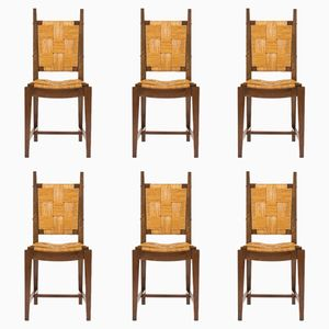 Walnut & Straw Chairs, 1950s, Set of 6