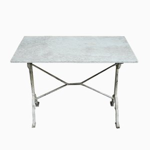 Garden Table with Marble Top and Cast Iron Base, 1930s