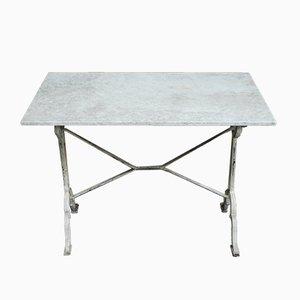 Tavolo da giardino con ripiano in marmo e base in ghisa, anni '30