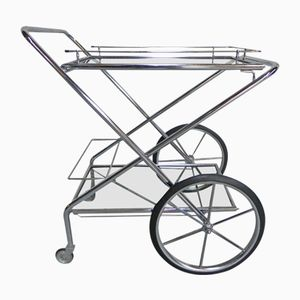 Vintage Chrome-Plated Foldable Serving Trolley