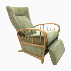 Vintage Italian Beech & Green Fabric Reclining Lounge Chair
