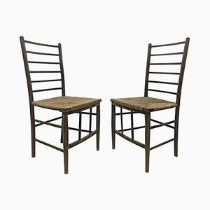 Antique Arts and Crafts Side Chairs with Rush Seats from Liberty and Co, Set of 2
