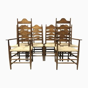 Vintage Arts & Crafts Cotswold School Oak Ladder Back Dining Chairs by Ernest Gimson, Set of 10