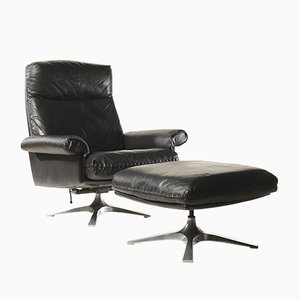 Mid-Century DS 31 High-Back Swivel Lounge Chair with Ottoman from de Sede, 1970s