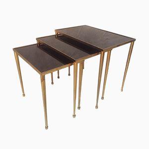 Mid-Century Brass & Glass Nesting Tables