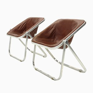 Leather Plona Folding Chairs by Giancarlo Piretti for Castelli, 1960s, Set of 2