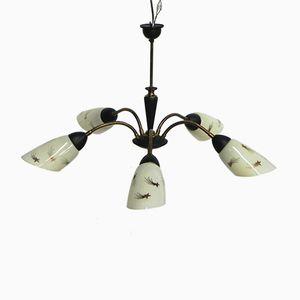 Lampada a sospensione vintage con 5 paralumi in vetro e braccia flessibili