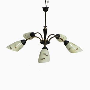 Lampe à Suspension Vintage avec 5 Abat-jours en Verre