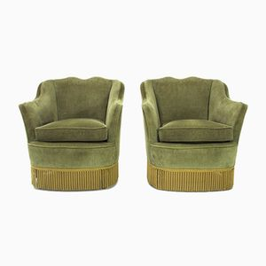 Italian Green Velvet Armchair, 1950s, Set of 2