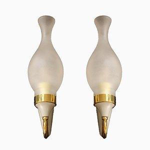 Italian Brass Wall Lamps, 1950s, Set of 2