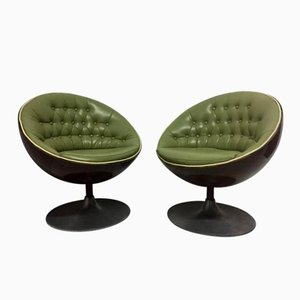Mid-Century Swivel Egg Chairs, Set of 2