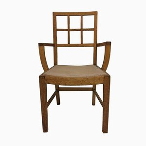Vintage Lattice Back Oak Armchair
