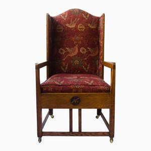 Antique Oak Wingback Armchair
