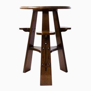 Antiker Domino Spieltisch aus Eichenholz & Ebenholz mit Zinn Intarsien von Norman & Stacey
