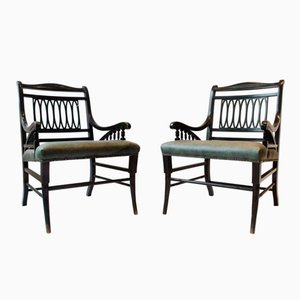 Anglo-Japanese Ebonized Open Armchairs, Set of 2