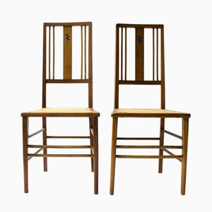 Antique Ebony & Pewter Inlay Side Chairs by Ambrose Heal for Heals and Son London, Set of 2