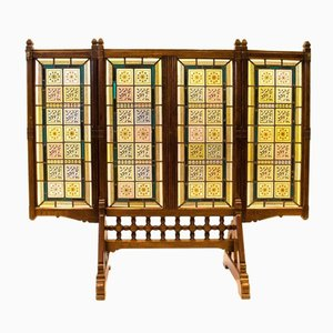 Antique Oak, Leaded & Painted Glass Three-Fold Fire Screen