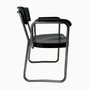 Vintage Stahlrohr Armlehnstuhl von Emile Guillot für Thonet
