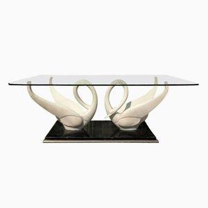 Table Basse Mid-Century Blanche avec Cygnes & Plateau en Verre de Maison Jansen