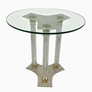 Vintage Circular Lucite & Brass Side Table