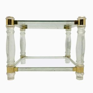 Vintage French Square Lucite & Brass Two-Tier Side Table