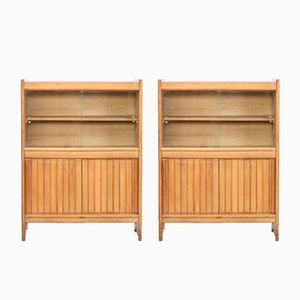 Oak Cabinets by Guillerme Et Chambron for Votre Maison, 1960s, Set of 2