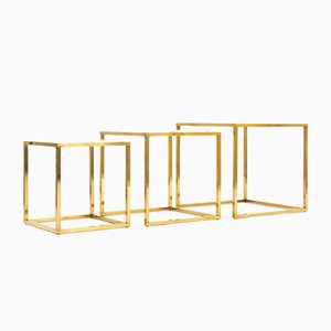 Brass and Marble Nesting Tables, 1950s