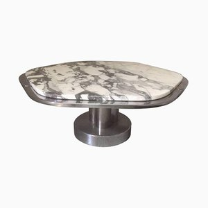 Table Basse en Marbre et Chrome, Italie, 1970s