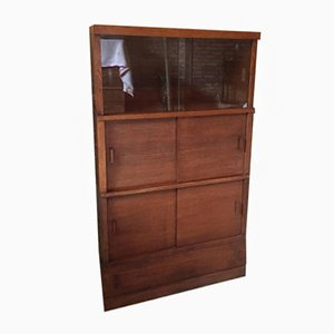 Mid-Century French Library Cabinet with Glass Sliding Doors, 1950s