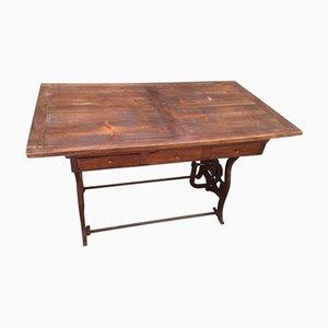 Tavolo Mid-Century con macchinario in metallo e ripiano in legno, Francia