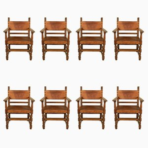 Vintage Leather Armchairs, Set of 8
