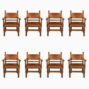 Vintage Leder Armlehnstühle, 8er Set