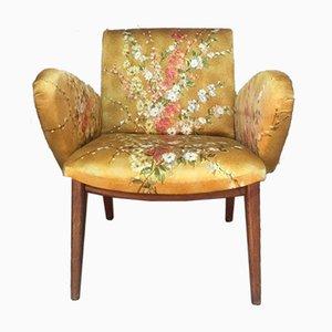 Poltrona Mid-Century in tessuto floreale giallo, anni '60