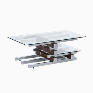 Mesa de centro vintage de vidrio y metal cromado
