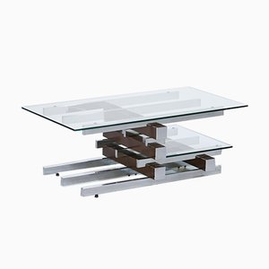Table Basse Vintage en Verre et Chrome