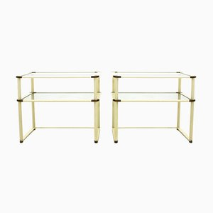 Brass and Glass Bed Side Tables, 1970s, Set of 2