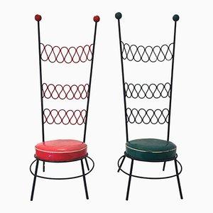 Stühle aus Eisen & Skai, 1970er, 2er Set
