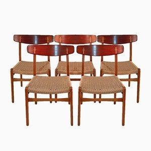 CH23 Esszimmerstühle von Hans J. Wegner für Carl Hansen & Søn, 1950er, 5er Set