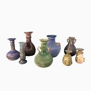 Vintage Colored Glass Vases, Set of 8