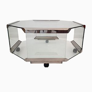 Octagonal Glass & Steel Coffee Table On Casters by Galotti & Radice, 1980s