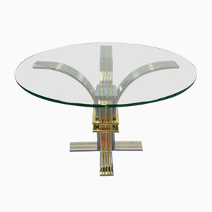 Round Dining Table in Chromed Metal, Brass & Glass by Romeo Rega, 1970s