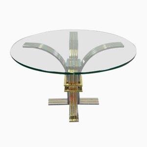 Runder Esstisch aus verchromten Metall, Messing & Glas von Romeo Rega, 1970er