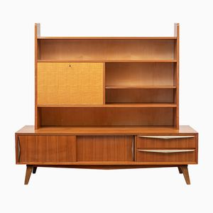 Mid-Century Sideboard with Shelving in Walnut & Maple