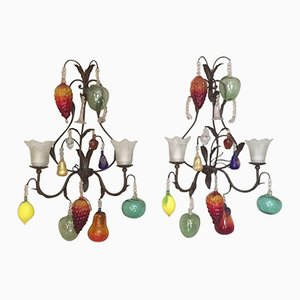 Vintage Italian Murano Glass Wall Lamps with Fruits, Set of 2